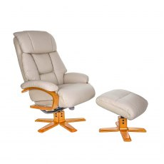 Cannes Swivel Recliner & Stool