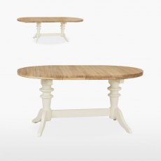 Coelo Oval Extending Double Pedestal Dining Table with 2 Extension Leaves