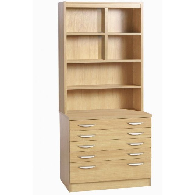 Whites Compton A2 Plan Chest with Deep Lower Drawer and OSF Hutch
